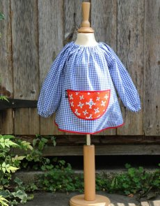 Traditional children's blue gingham smock, Pirates pocket