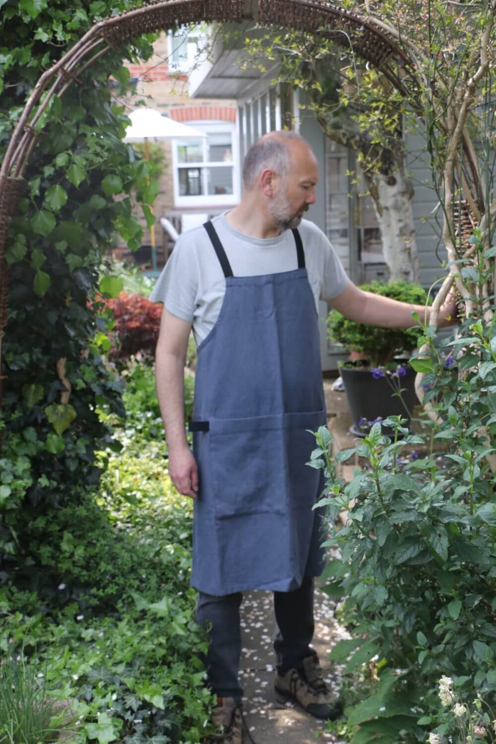 Luxury linen apron. Slate blue apron, no ties