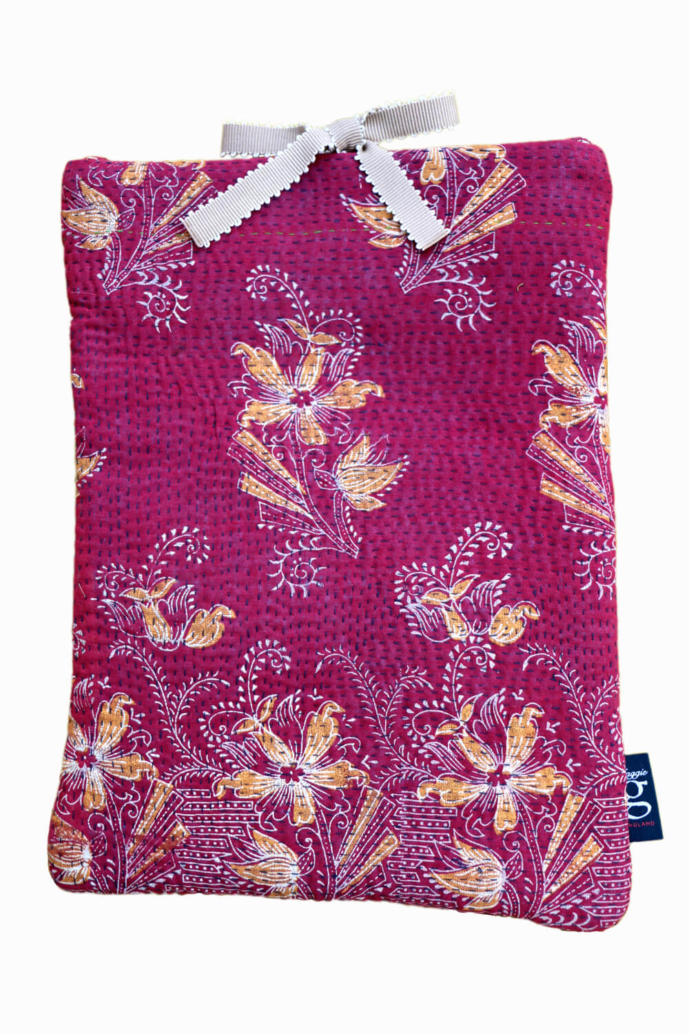 Designer quilted kantha iPad cover - Holly