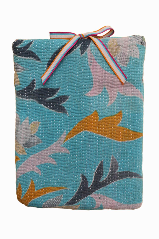Designer quilted kantha iPad cover - Fleur