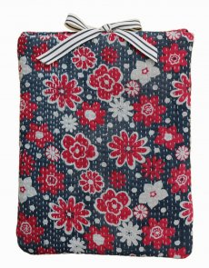 Designer quilted kantha iPad cover - Daisy