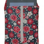 Designer quilted kantha iPad cover with iPad - Daisy