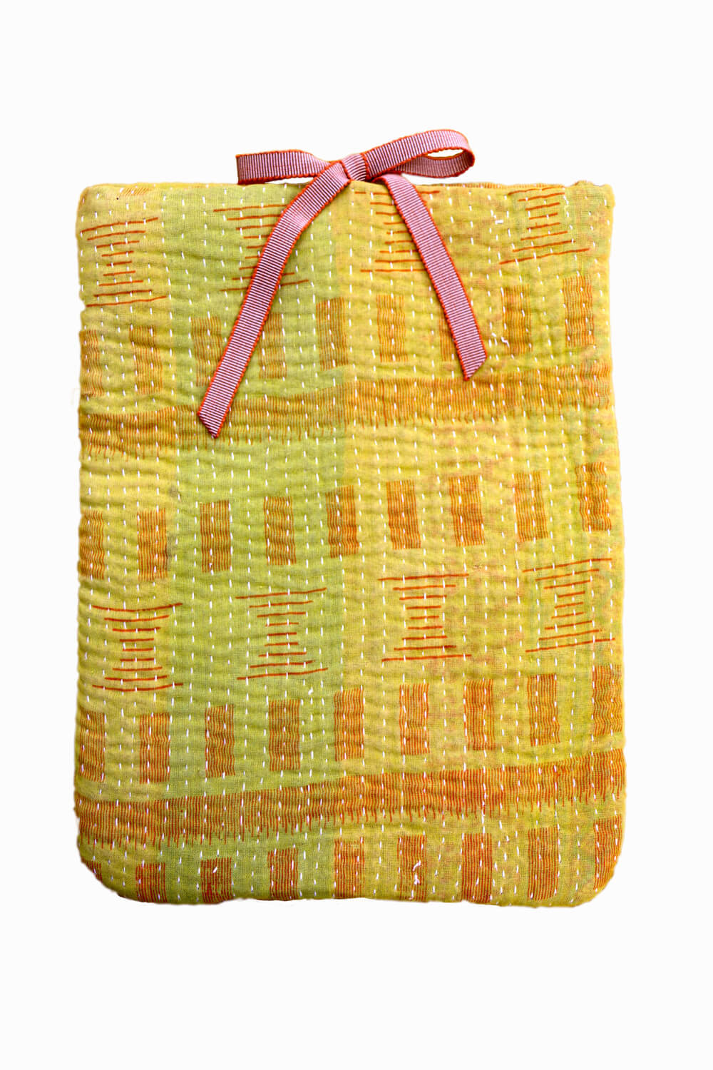 Designer quilted kantha iPad cover - Honey