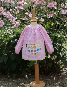 Traditional children's pink gingham smock, Butterflies pocket