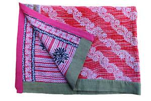 Chrysanthemum baby blanket, vintage cotton Kantha quilt