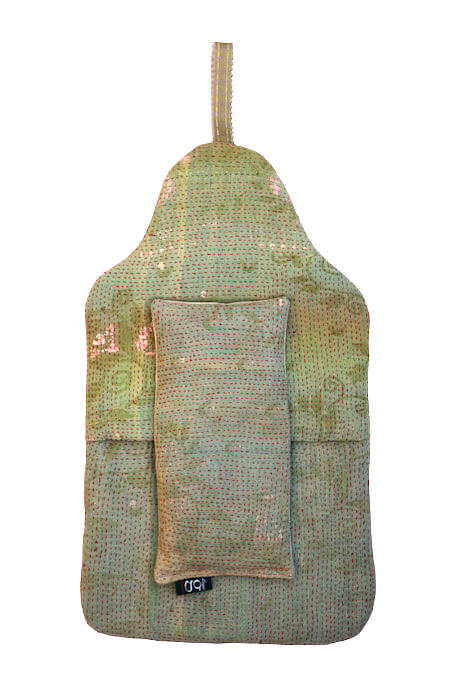 Beautiful soft quilted kantha hot water bottle covers - Euphorbia