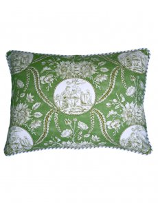 Vintage style green toile cushion - front