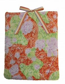 Designer quilted kantha iPad cover - Rose