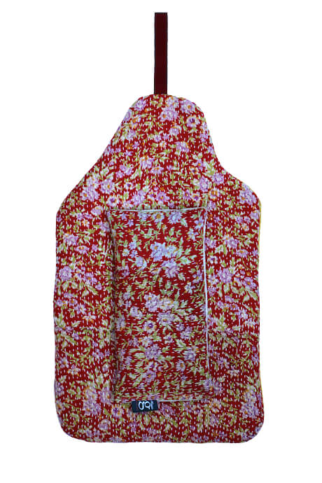 Beautiful soft quilted kantha hot water bottle covers - Violet