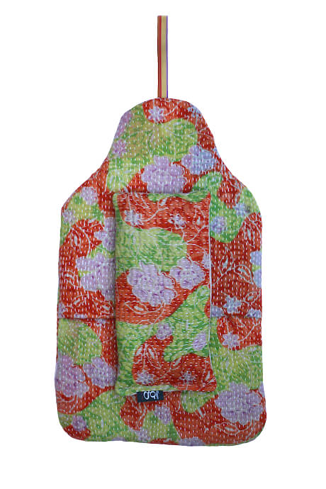 Beautiful soft quilted kantha hot water bottle covers - Rose 1