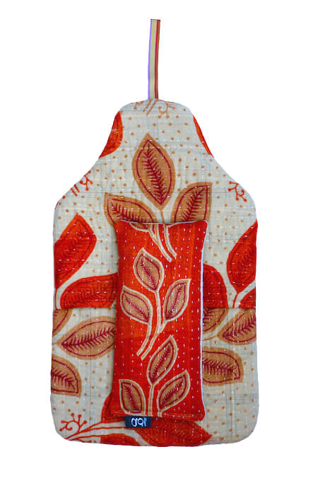 Beautiful soft quilted kantha hot water bottle covers - Florence