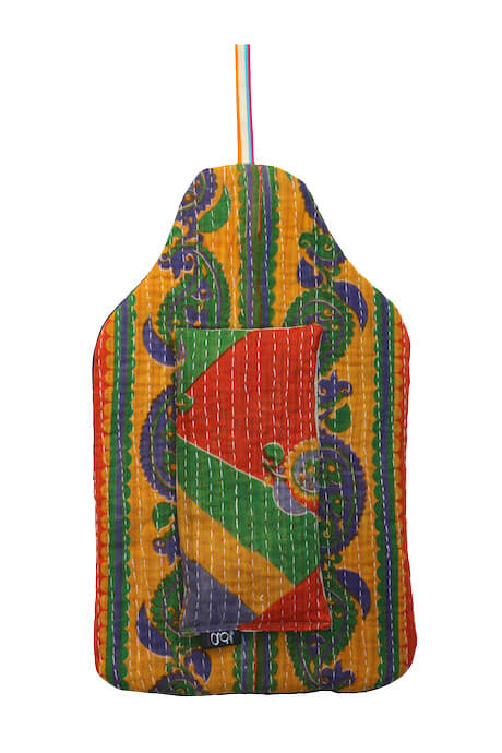 Beautiful soft quilted kantha hot water bottle covers - Buddleia