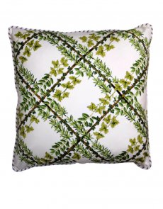 vintage style green lattice cushion - front