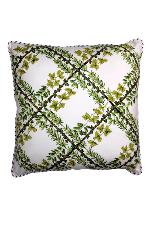 vintage style green lattice cushion - front