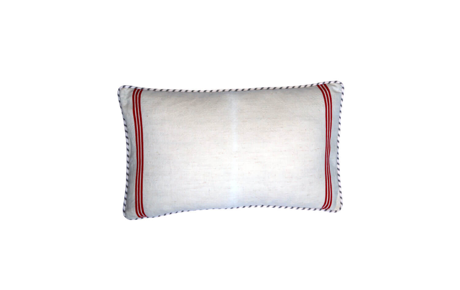 Hungarian vintage linen cushion. Red Stripe cushion - front