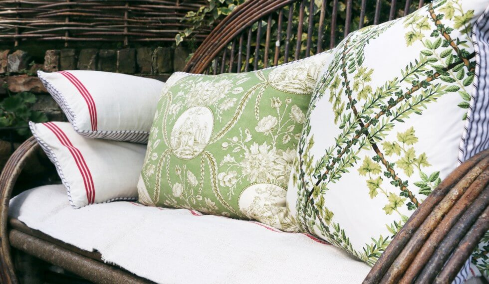 Cushions on bench