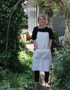 Natural linen apron with gingham ties