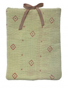 Designer quilted kantha iPad cover - Lime