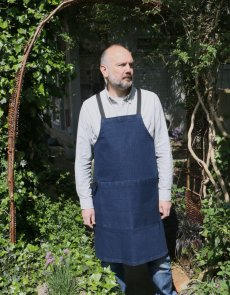 Luxury designer men's denim aprons