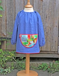 Traditional children's blue linen smock, Jungle Fever pocket