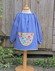 Traditional children's blue linen smock, Tweet pocket