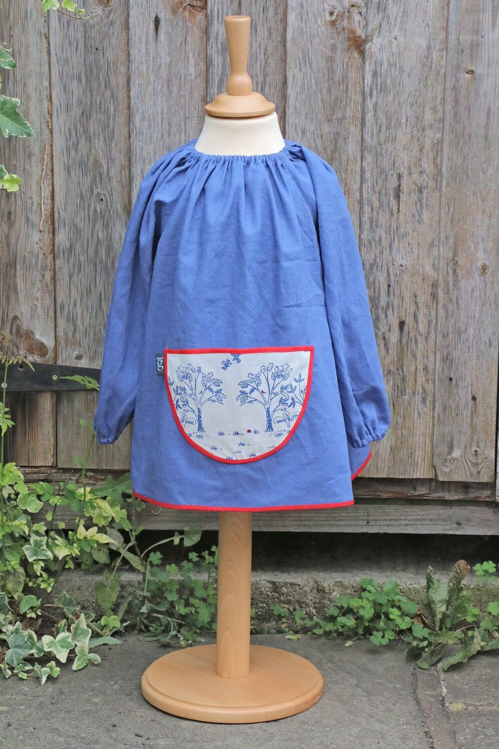 Traditional children's blue linen smock, Trees pocket