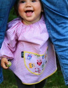 Traditional children's pink gingham smock, Wise Owls pocket