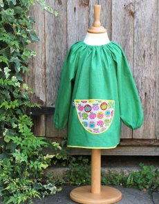 Traditional children's green linen smock, Apples pocket