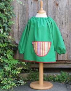 Traditional children's green linen smock, Stripes pocket