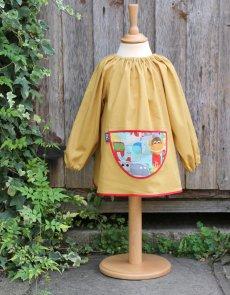 Traditional children's mustard linen smock, Jungle Fever pocket