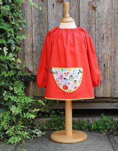 Traditional children's red linen smock - Tweet