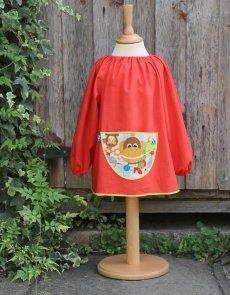 Traditional children's red linen smock - Jungle Fever