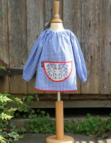 Traditional children's blue gingham smock, Trees pocket
