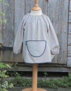 Traditional children's cotton art smock - Ticking