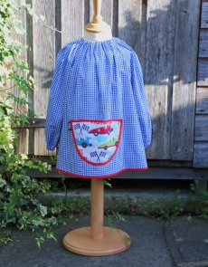 Traditional children's blue gingham smock, Racing Cars pocket