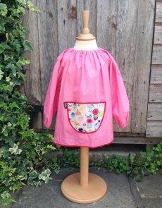 Traditional children's pink linen smock, Tweet pocket
