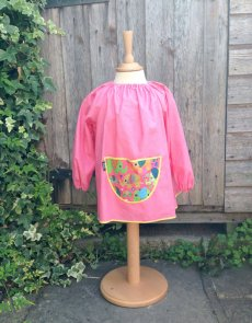 Traditional children's pink linen smock, Elephants pocket