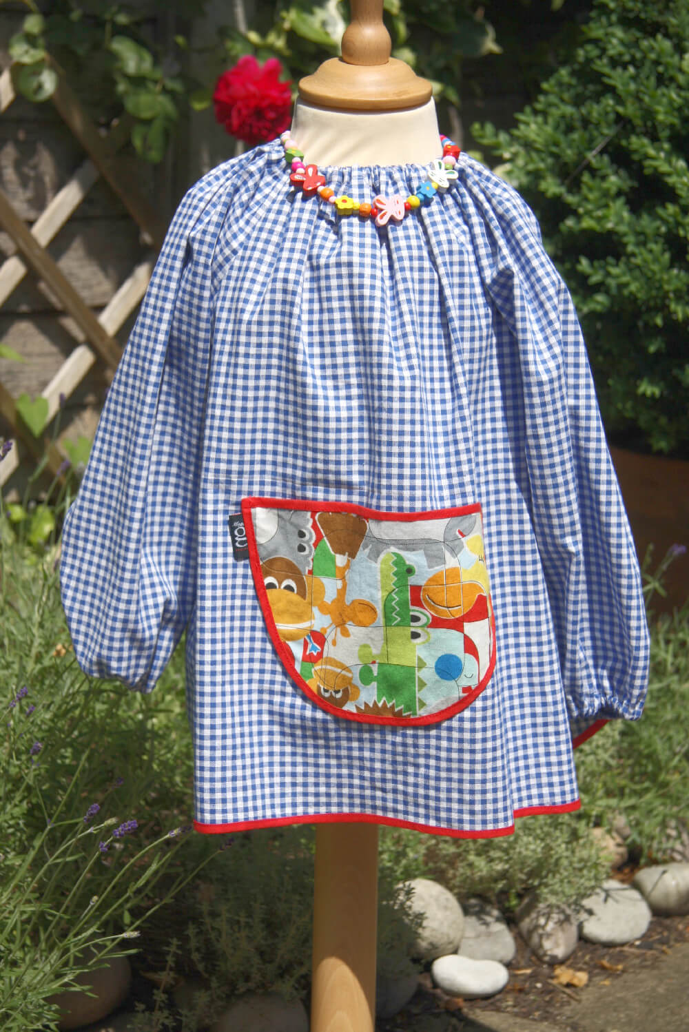 Traditional children's blue gingham smock, Jungle Fever pocket