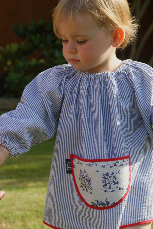 Traditional children's blue seersucker smock, Trees pocket