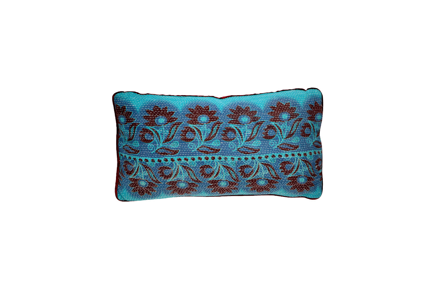 Vintage kantha and velvet cushion - front