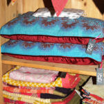 Vintage kantha and velvet cushion with throws