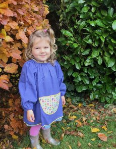 Traditional children's blue linen smock - Flower Power